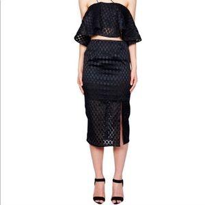 NICHOLAS Embroidered spot black pencil skirt NWT